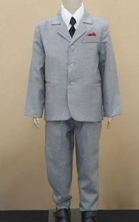 Boys Silver Grey 3 Piece Suit