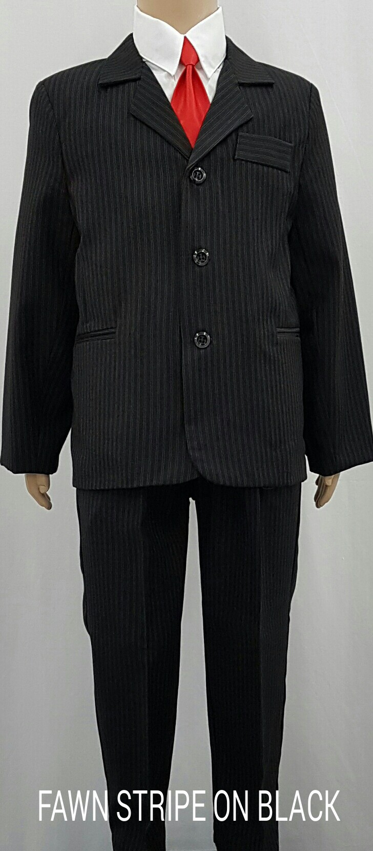 Pre-owned boys 3 piece suit size 4T only worn once in good to very good condition. Comes with button down shirt, pants, vest, and clip-on tie. Comes from a non-smoking and non pet home.